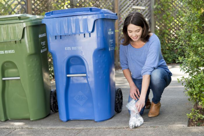 CFL's near recycling cart image